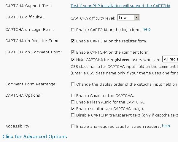 SI CAPTCHA Anti Spam option